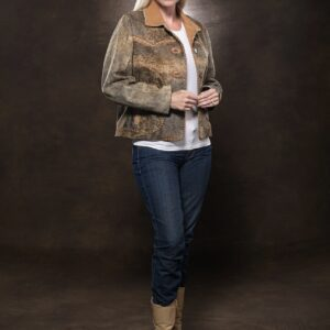 woman wearing Jungle Suede Leather Jacket