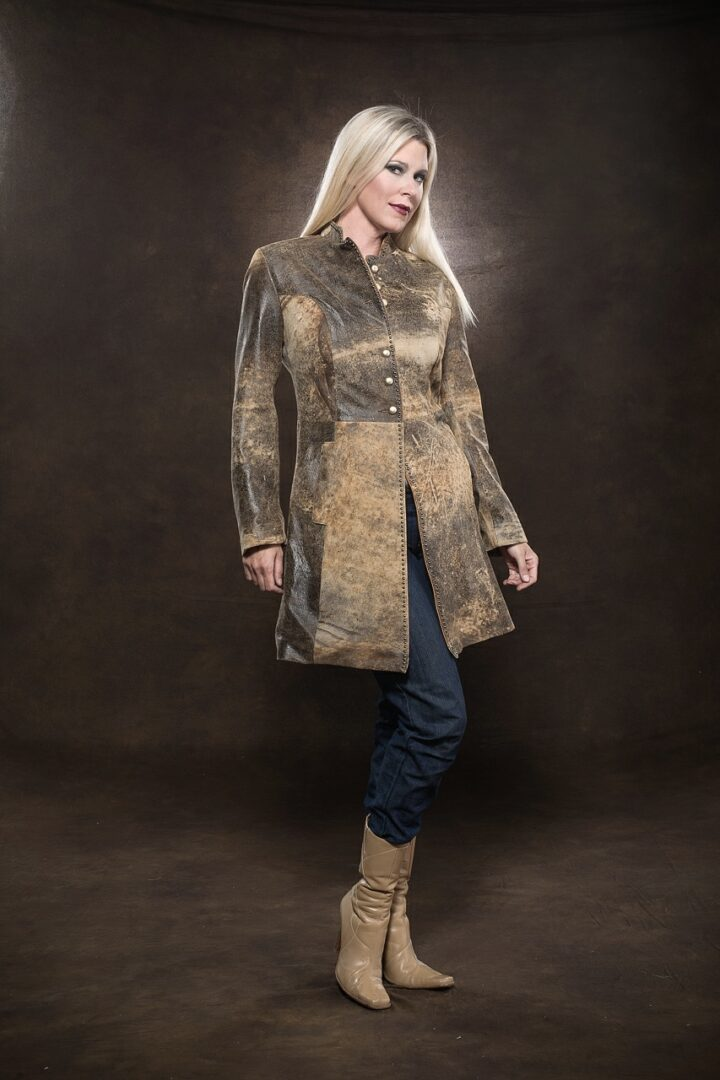 woman wearing Jungle Suede Leather 3/4 Coat