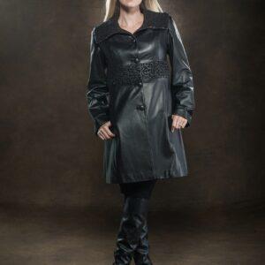 blonde woman wearing black ¾ leather coat