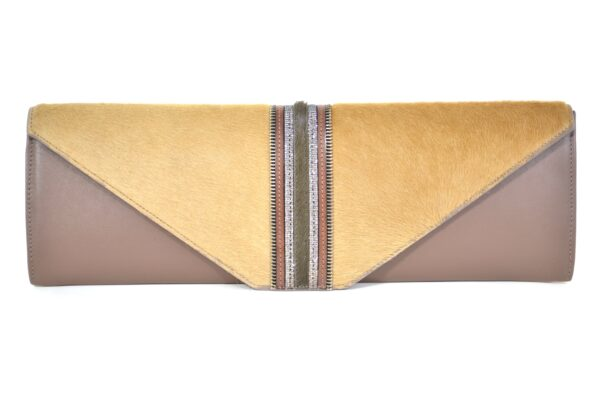brown baguette clutch with fur