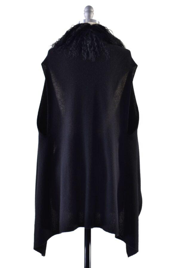 black gilet on mannequin back view