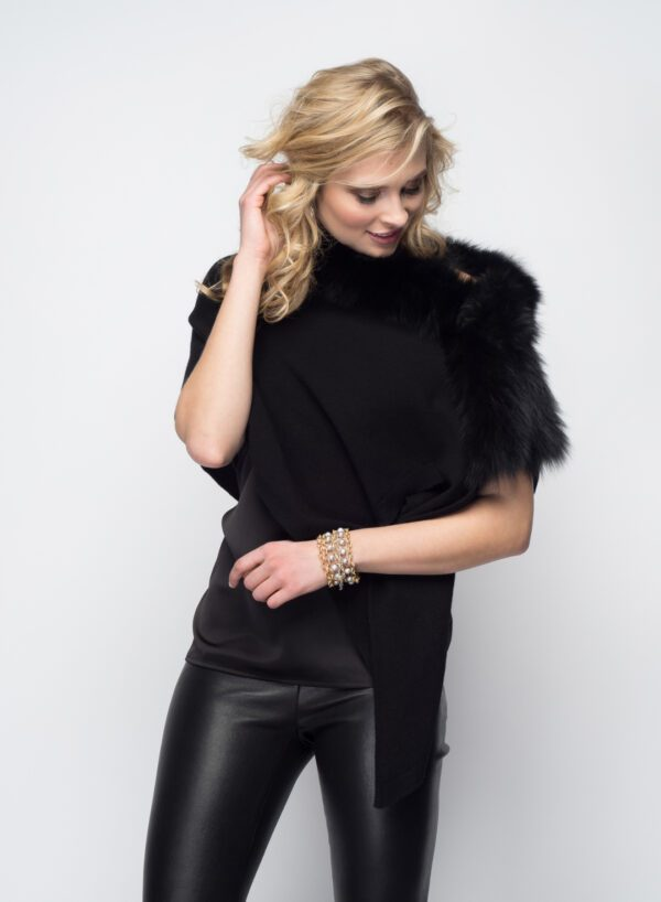 blonde woman modeling black stole with fur
