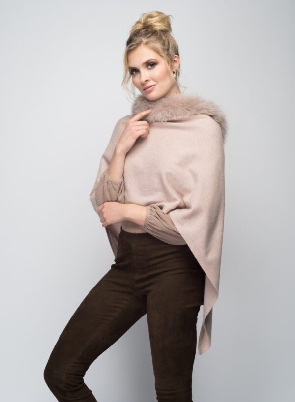 woman wearing pink stole with fur