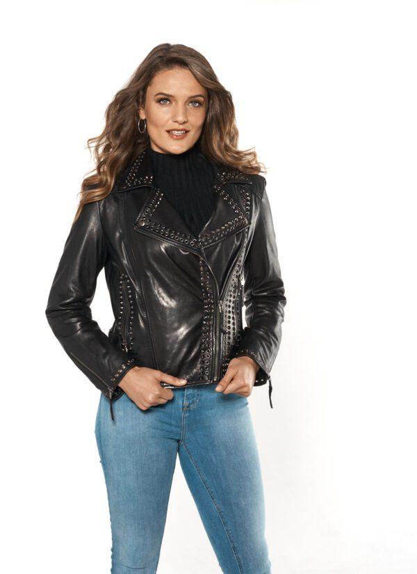 woman wearing black leather studded moto jacket