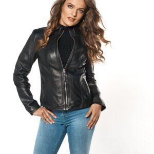 woman wearing Leather Detailed Pocket Zip Jacket