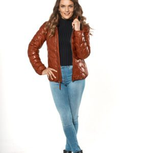 woman wearing Red Leather Puffer Zip Jacket