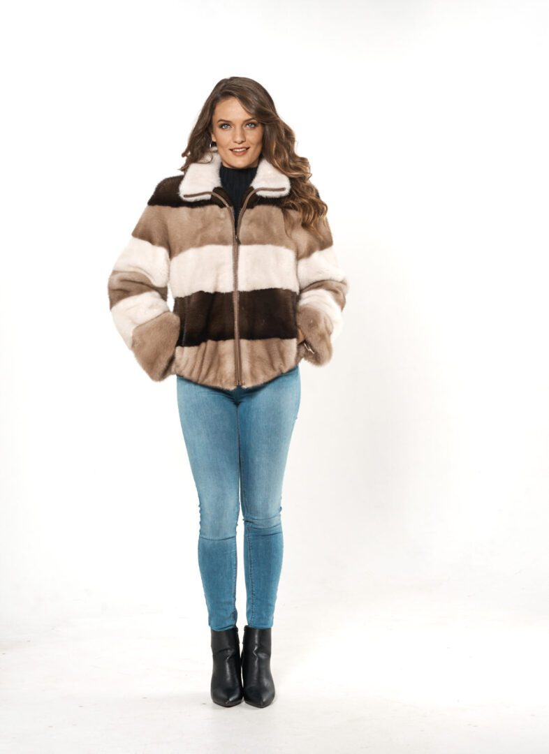 woman wearing three-color stripped fur jacket