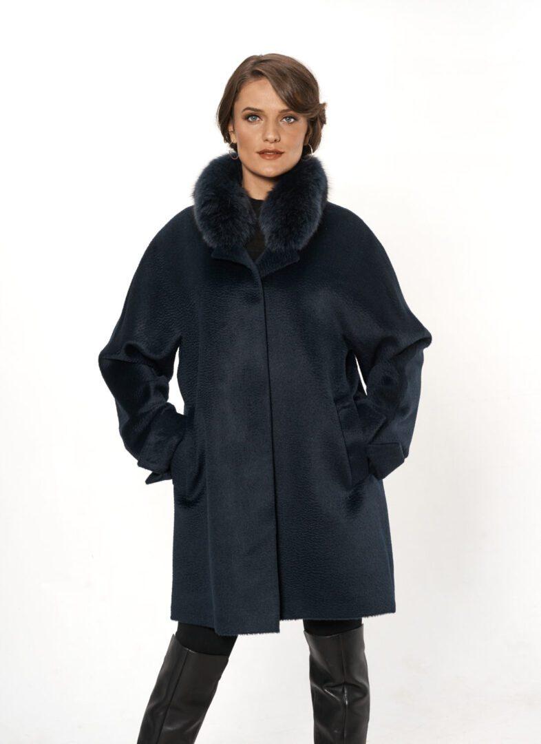 woman wearing ¾ coat blue alpaca and fox