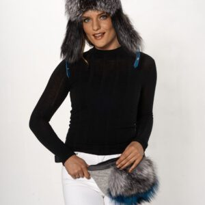 woman wearing leather and knit with dyed silver fox fanny pack