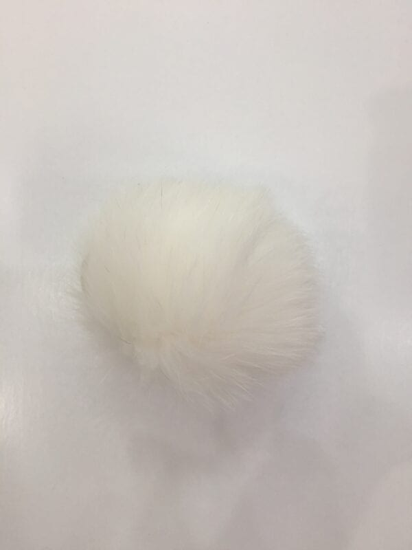 small photo of white fur pom hat topper