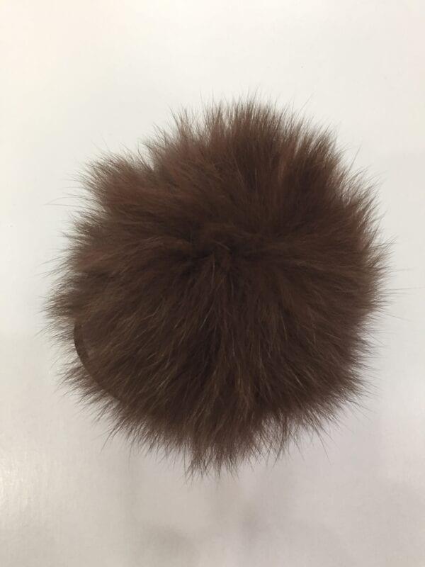 small photo of dark brown fur pom hat topper 2