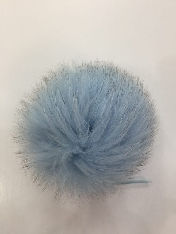 small photo of light blue fur pom hat topper 2