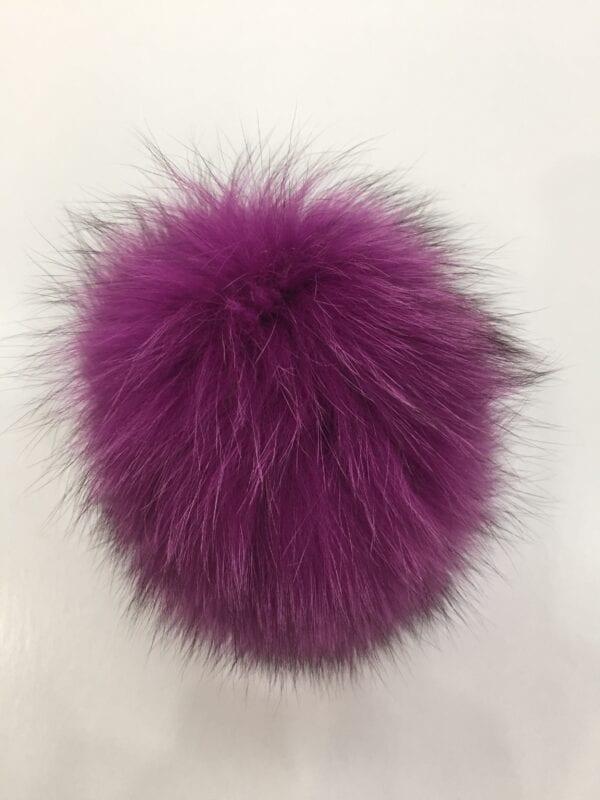 small photo of fuschia fur pom hat topper