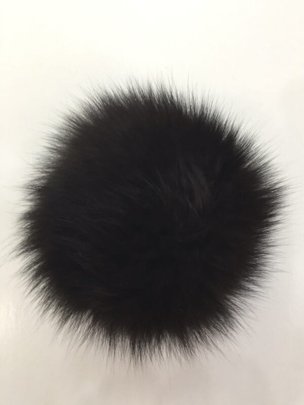 small photo of black fur pom hat topper