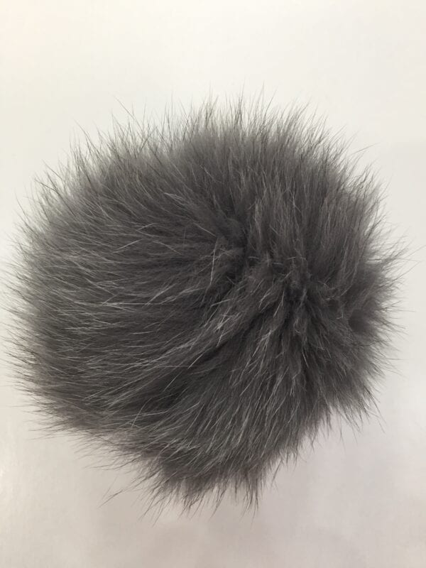small photo of gray fur pom hat topper