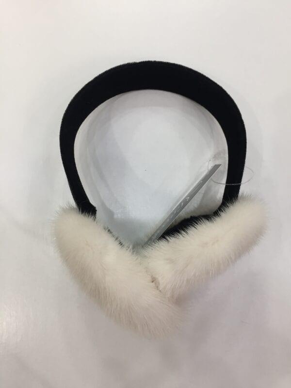 small photo of pair of white fur earmuffs