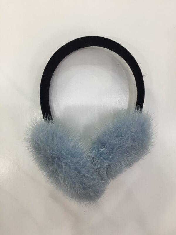 small photo of pair of light blue fur earmuffs