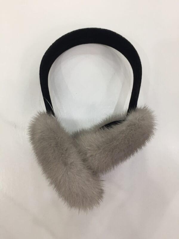 small photo of pair of gray fur earmuffs