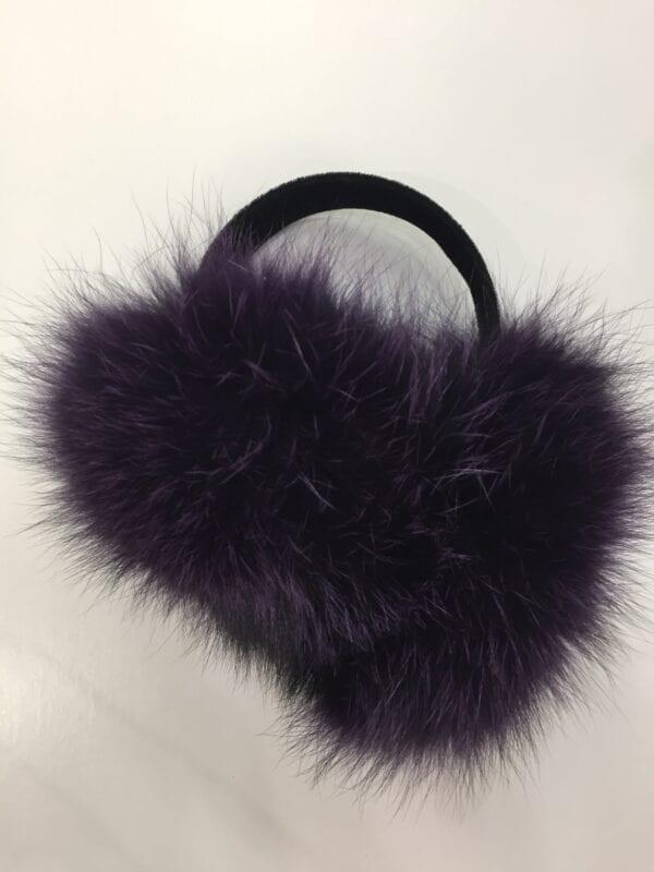 small photo of pair of dark purple fur earmuffs