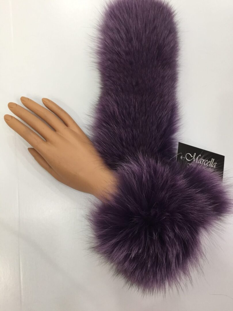 small photo of purple fur muff