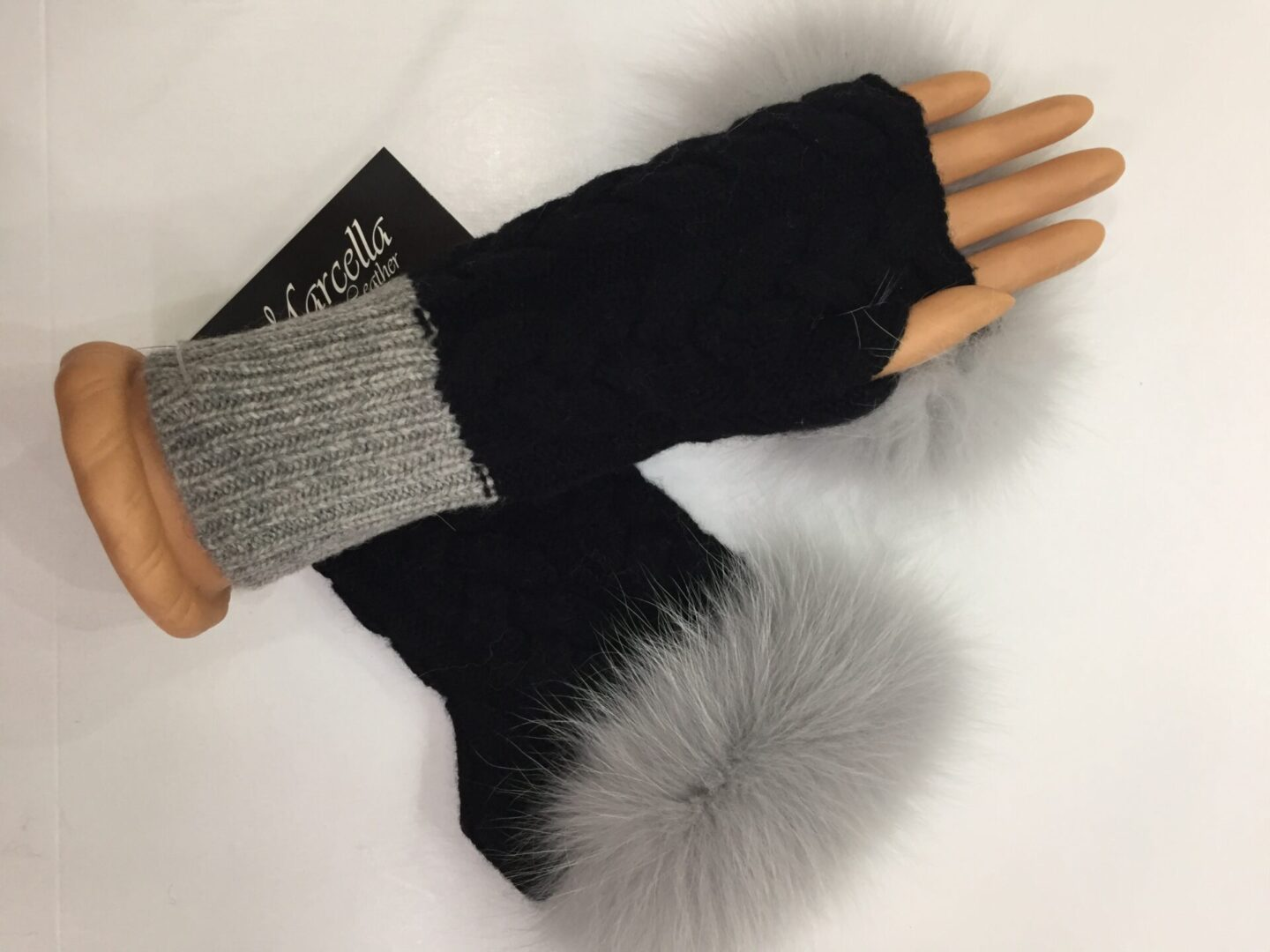 black fingerless gloves with silver fur