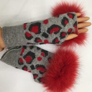 gray fingerless gloves with black and red design and red fur