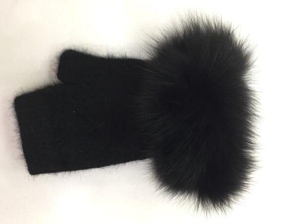 black fingerless gloves with fur knuckles