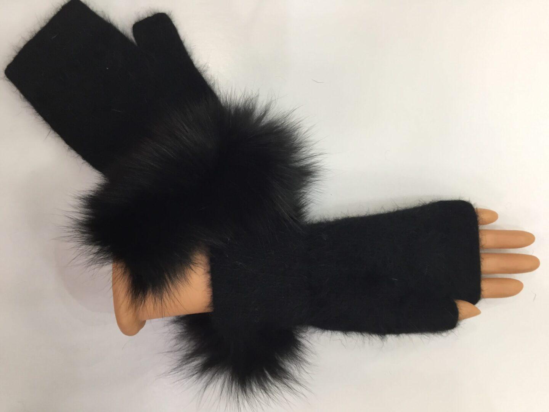 black fingerless gloves with black fur