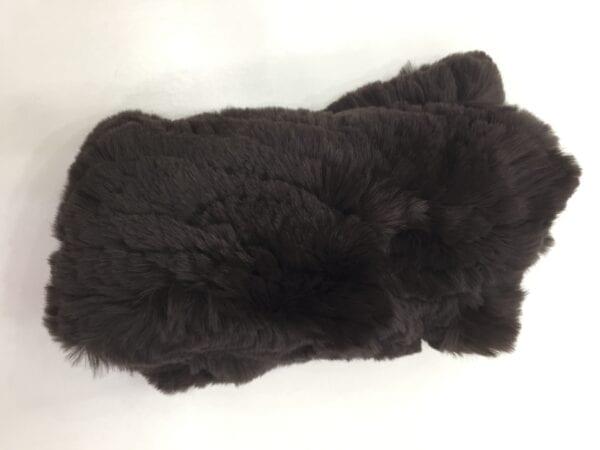 pair of black fur fingerless gloves