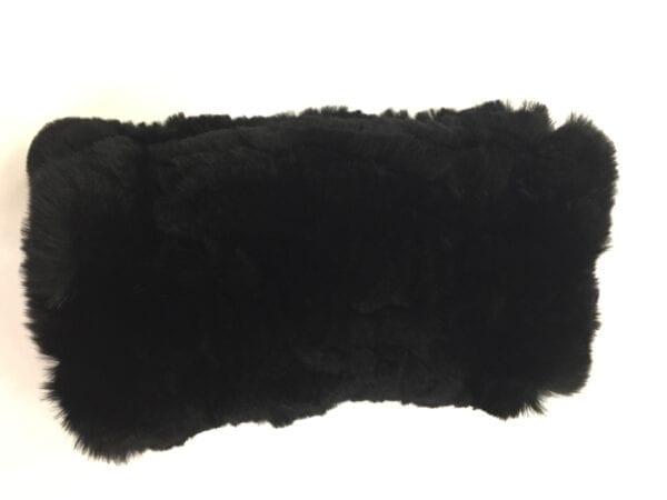 black fur fingerless gloves