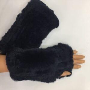 black knitted rex rabbit fur fingerless gloves