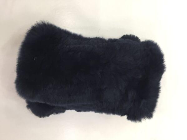 pair of black rex rabbit fur fingerless gloves