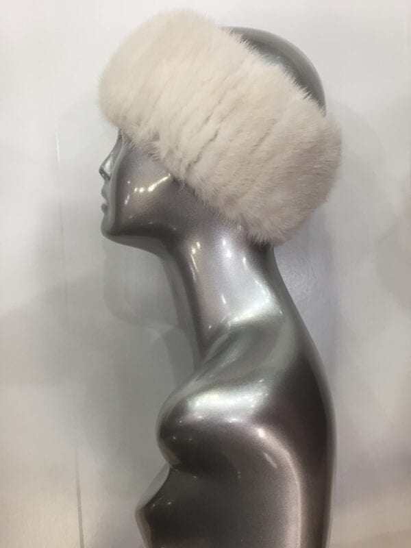 small photo of silver mannequin wearing white fur headband left