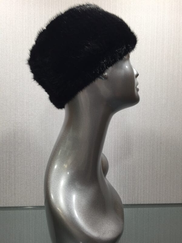 mannequin wearing black knitted mink headband right wide