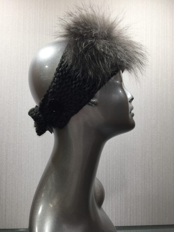 silver mannequin with black knit headband side view right