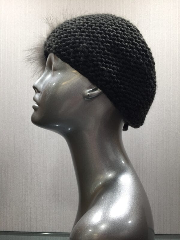 silver mannequin with black knit headband side view left