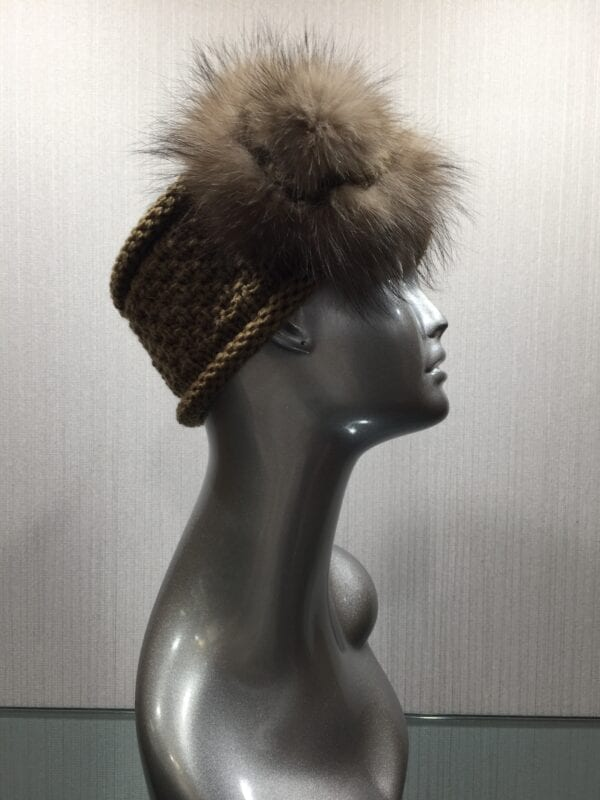 silver mannequin with knit brown headband with fur flower right