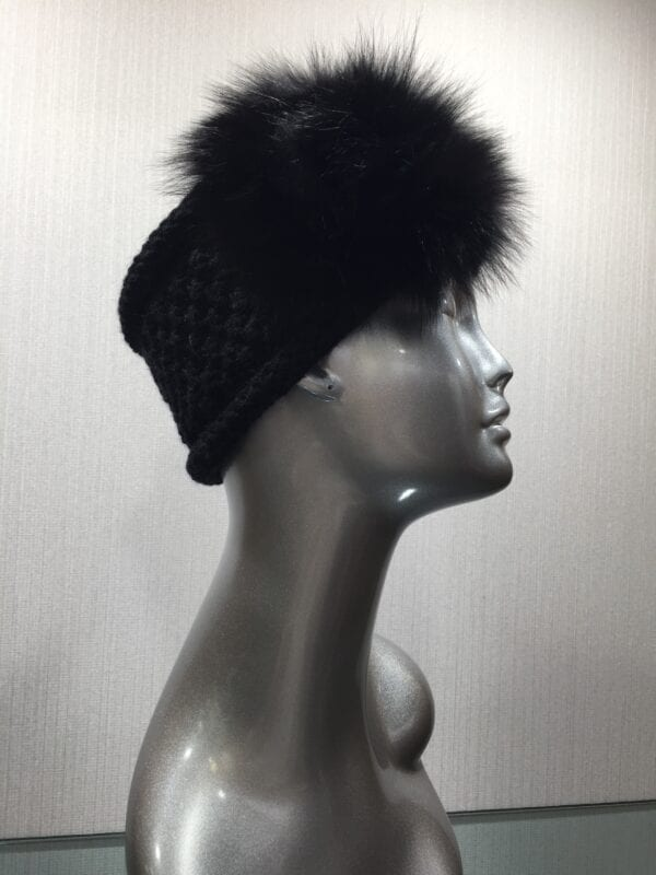 silver mannequin wearing black knit headband with fur right