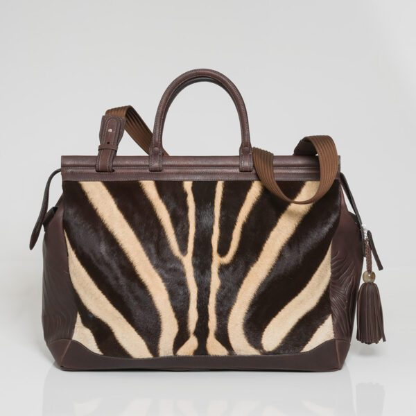 brown leather handbag with animal print
