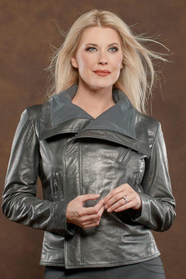 blonde woman wearing gray leather jacket