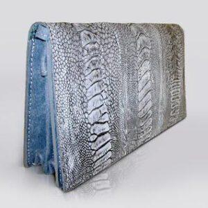 kulu blue ostrich shin clutch